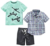 Simple Joys by Carter's Boys' Toddler 3-Piece Playwear Set, Mint Airplane/Plaid/Grey, 2T