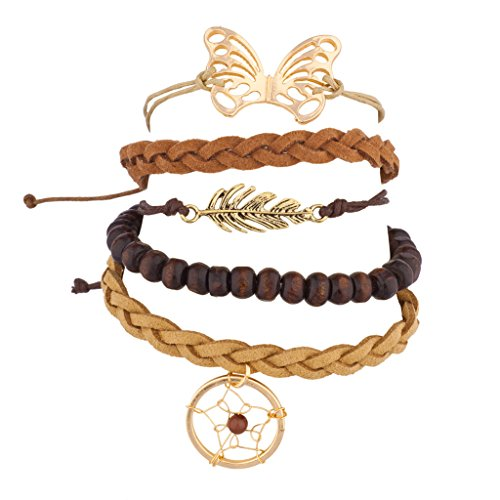 Lux Accessories Dreamcatcher Leaf Bead Butterfly Woven Arm Candy BFF Bracelet Set