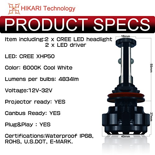 HIKARI-LED-Headlight-Bulbs-Conversion-Kit-H11H8H9CREE-XHP50-9600lm-6K-Cool-White2-Yr-Warranty