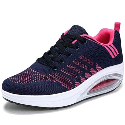 15eb033e0d80 Solshine Damen Fashion Plateau Schnürer Sneakers mit Keilabsatz WALKMAXX  Schuhe Fitnessschuhe Dunkel Blau