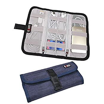 BUBM Portable Universal Wrap Electronics Travel Organizer / Cable Stable/ Electronics Accessories Carry Bag,Blue