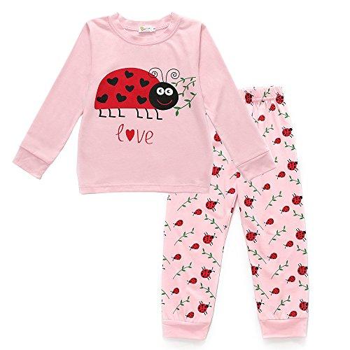 Little Girls Ladybug Pajamas 2 Piece Set 100% Cotton Kids Sleepwear Clothes (Girls 4 Sleepwear)