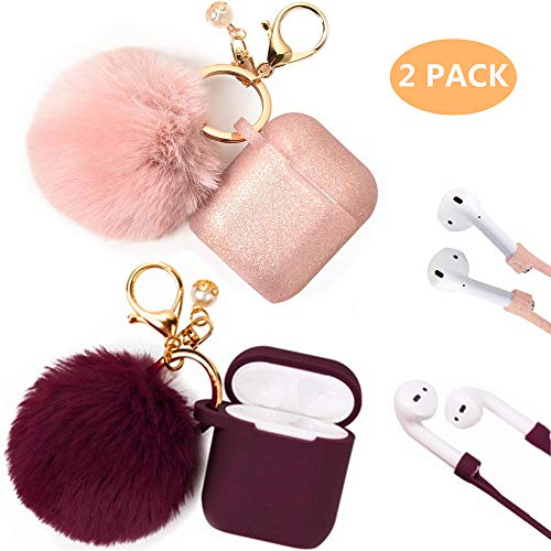 Airpods Case, Filoto Airpod Case Cover for Apple Airpods 2&1 Charging Case, Cute AirPods Silicon Case with Airpods Accessories Keychain/Skin/Pompom/Strap 2019 Winter Series (Burgundy+Rose Gold)