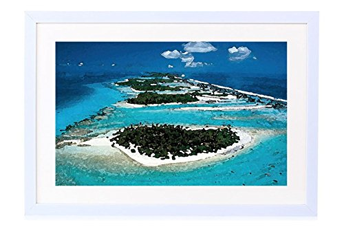 Rangiroa Aerial View Society Islands French Polynesia Tahiti - Art Print White Wood Framed Wall Art Picture 20x14 inches Framed