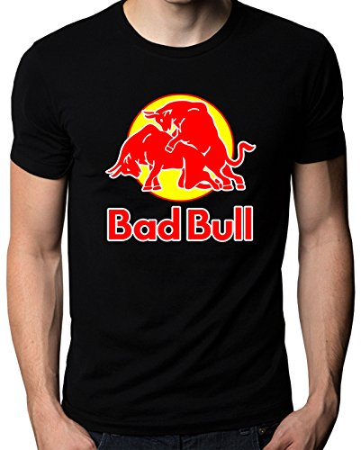 Bad Bull Funny Red Bull Logo Sex Graphic Parody Mens Womens T-Shirt (Color Black) Size XXL