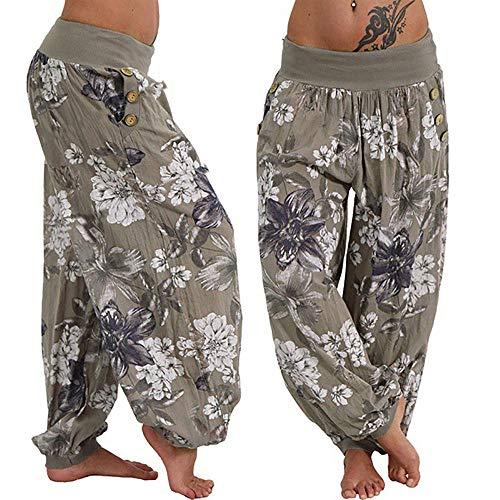 Farjing Pants Clearance Sale Women Casual Print Pants Wide Leg Pants Loose Pocket Button Harem Pants(S,Army Green by Farjing