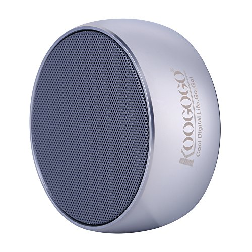 KOOGOGO Portable Bluetooth Speaker, Metal Case Powerful Mini Outdoor Speaker with Microphone, Wireless Portable Speaker for Phones, PC and Tablets (Silver)