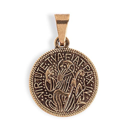 Chain No 14kt Gold Medal - Saint Benedict Medal Gold-Filled, San Benito Medalla, Religious Pendant Necklace Charm, Christian Jewelry of Patron Saint Benedict for Women's Protection, Antique Finish Medal, Double Sided.