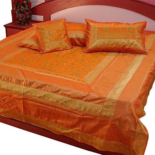 Marusthali Indian Banarasi Bedspread Designer Embroidery Silk Brocade Work - Pure Silk with Cushion Covers (Orange) (Indian Embroidery Bedspread)