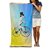 Spotty Dog Bicycle Art Quick-drying Pool Beach Towel Travel Bath Towel For Adults