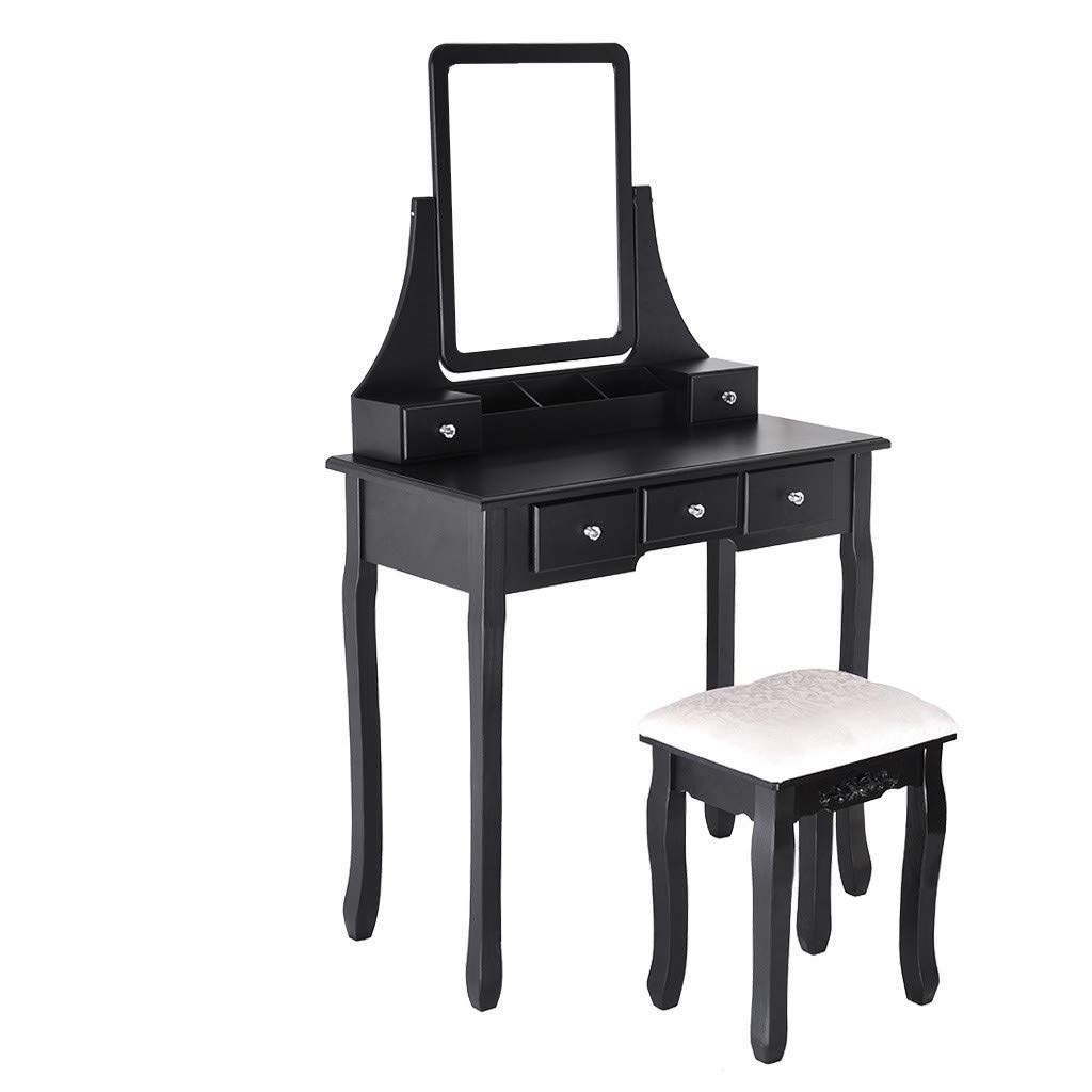 Oucan Vanity Set with Mirror & Cushioned Stool Dressing Table Vanity Makeup Table