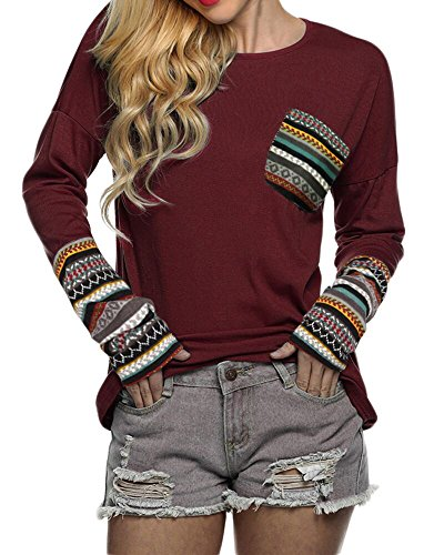 POGTMM Ladies Tops,Knitted Long Sleeve Tops (S, ZZ New Wine Red)