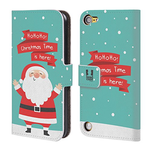 Head Case Designs Babbo Natale Cartoni Di Un Felice Natale Cover a portafoglio in pelle per iPod Touch 5th Gen / 6th Gen