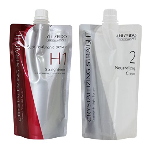 Hair Rebonding Shiseido Crystallizing Hair Straightener (H1) + Neutralizing Emulsion (2) for Resistant to Natural Hair 400g each (one set)
