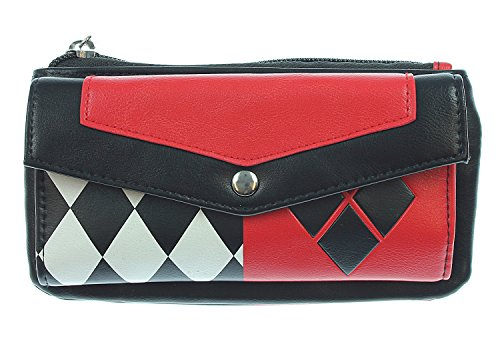 DC Comics Harley Quinn Front Flap Womens Wallet, Red/Black/White, One - Wallet Dc