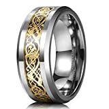 King Will DRAGON 8mm Gold Celtic Dragon Tungsten Carbide Mens Wedding Band Ring Comfort Fit