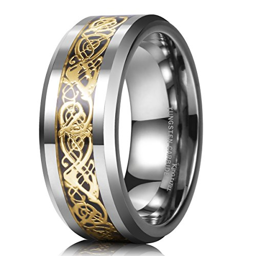 (King Will Dragon 8mm Gold Celtic Dragon Tungsten Carbide Mens Wedding Band Ring Comfort Fit 9)