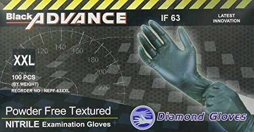 Price comparison product image Diamond Gloves Black Advance Powder-Free Nitrile Examination Gloves,  6.3 Mil,  Heavy Duty,  Medical Grade,  100 Count XXL
