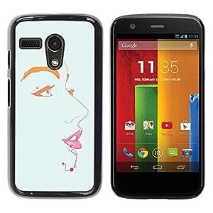 For Motorola Moto G1 / X1032 Case , Lips Eyes Portrait Painting Minimalist - Diseño Patrón Teléfono Caso Cubierta Case Bumper Duro Protección Case Cover Funda