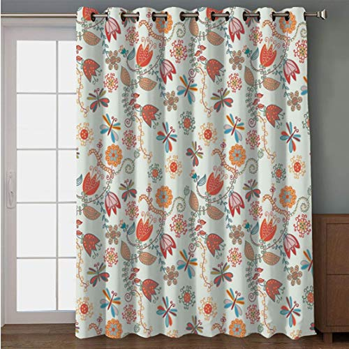 Joy2016 Blackout Curtains for Patio Sliding Door, Extra Wide Draperies for Double Window, Thermal Insulated Energy Efficiency Blackout Curtains for Bedroom Decor, 108 Inch Wide x 108 Inch Length ()