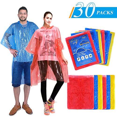 Ginmic Ponchos Family Pack - Rain Ponchos for Kids and Adults, Assorted Colors, Extra Thick 0.03mm, Disposable Emergency Rain Ponchos for Family Travel, Camping, Hiking, Fishing -