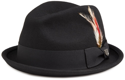 Brixton Men's Gain Felt Fedora Hat, Black Felt, S