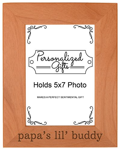 Personalized Gifts Grandpa Gift Papa's Lil' Buddy Grandson Natural Wood Engraved 5x7 Portrait Picture Frame Wood (Memory Vertical Frame Company)
