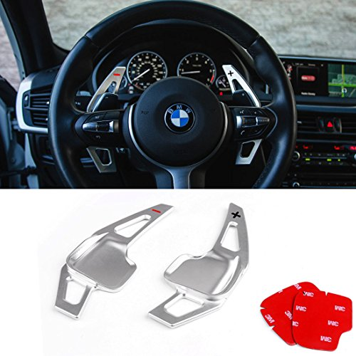 For BMW Paddle Shifter Extensions,Jaronx Aluminum Metal Steering Wheel Paddle Shifter(Fits: BMW 2 3 4 X1 X2 X3 X4 X5 X6 series,F30 F34 F32 F15 F16 F25 F26 F48 F39)-Silver