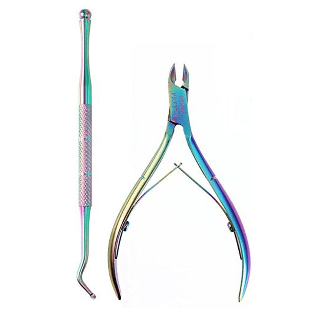 BORN PRETTY Nail Art Cuticle Nipper Rainbow Clipper Scissor with Titanium Dual-ended Pedicure Pusher Remover