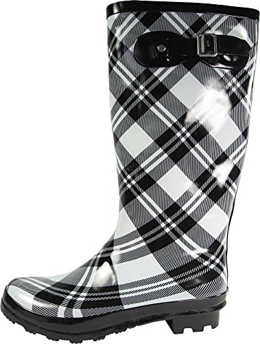 Hi Wellie NORTY and 14 Black Glossy Plaid Matte Prints Hurricane Rainboots Waterproof Solids Women's Calf qFESxw4vF