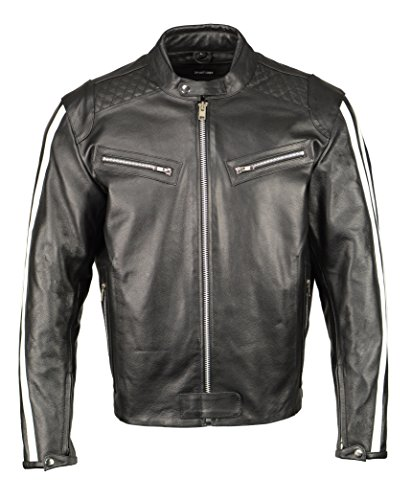 - Men's Armored Leather Jacket w/Racing Stripes-BLK/White-LG