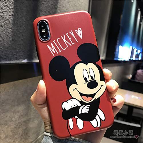 Maxlight Cute Mickey Minnie Mouse Phone Cases for iPhone 8 7 Plus Cartoon Donald Daisy Duck Soft Cover for iPhone X XS Max XR Case (Red, for iPhone 7 8)