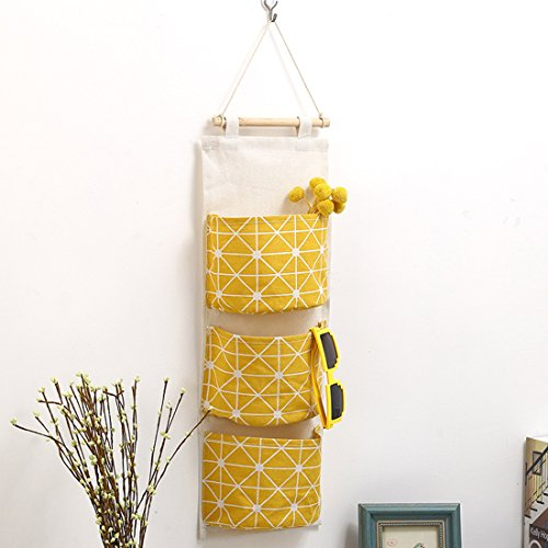 Over the Door Organizer, Didihou Wall Mount Storage Pockets 3 Cotton & Linen Storage Bag Wall Door Closet Hanging Organizer (Yellow) - Yellow Closet Organizer