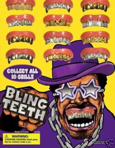 Amazon.com  Fun Bling Bling Grillz - Set of 10 Gold and Silver Insert Grillz    Fun Fake Teeth  Toys   Games 6bf41047feb2