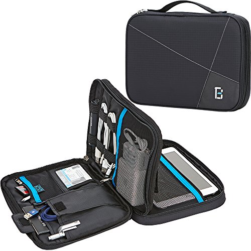 BGTREND Electronic Cord Organizer Travel Cable Bag Water Resistant Double Layer External Hard Drive Storage Bag, (Back Office Small Business Server)