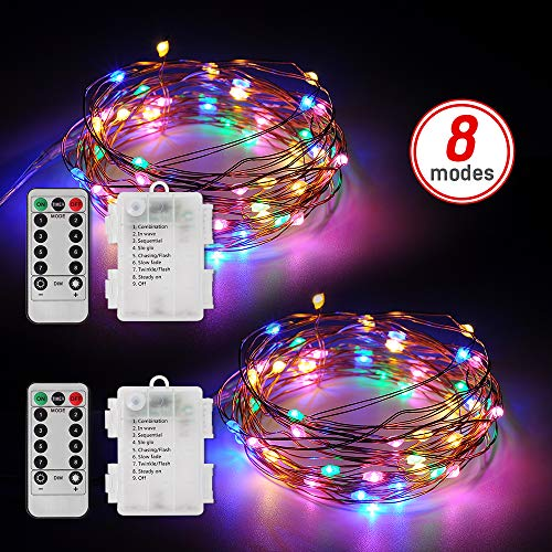 LED Fairy Lights,[2 Pack]16.6FT 50 LEDs Battery Operated with Remote Control Timer Waterproof String Lights,8 Modes Multi-Color Changing Copper Wire Lights with Remote, Lights for Bedroom,Patio, Party