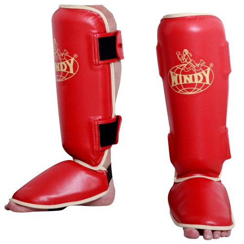 Windy Traditional Shin Instep Guard, Red, X-Large