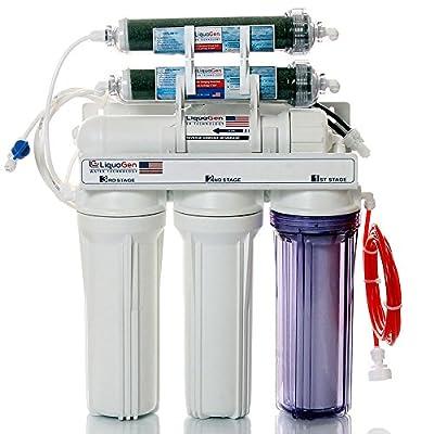 LiquaGen 6-Stage Reverse Osmosis/Deionization (RO/DI) Water Filtration System, 50 GPD Membrane w/ Manual Flush Valve