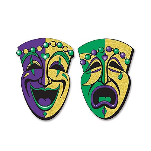 (Bargain World Jumbo Glittered Comedy & Tragedy Faces (2/Pkg) (with Sticky Notes))