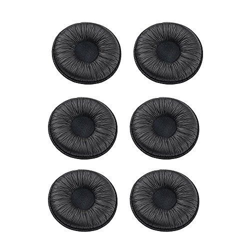 (Ear Cushions leatherette Spare Replacement Earpads for Plantronics Supra Plus Encore and Most Standard Size 50mm Office Telephone Headsets H251 H251N H261 H261N H351 H351N H361 H361N (Pack of 6) )