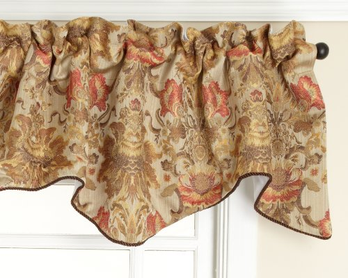 Stylemaster Como Lined Scalloped Valance with Cording, Tuscan, 50 by -