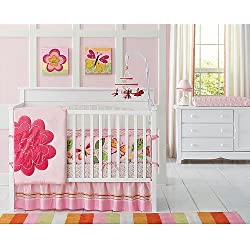 Amy Coe Bloom 4 Pc Crib Bedding SET -Flower Butterfly