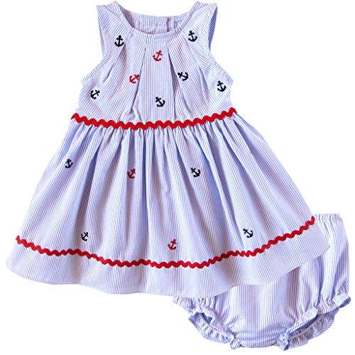 Good Lad Newborn/Infant Sleeveless Seersucker Dress with Nautical Embroideries, and Matching Seersucker Panty (12M) -