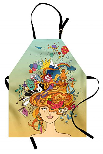 - Lunarable Curly Hair Apron, Young Girl with Busy Head Psychedelic Her Hippie Dreams Wishes Hobbies Concept, Unisex Kitchen Bib Apron with Adjustable Neck for Cooking Baking Gardening, Seafoam Rainbow