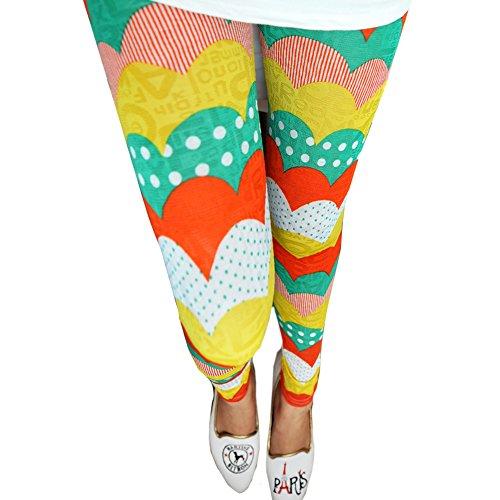 LOCOMO Women Girl Rainbow Color Curve Stripe Pattern Print Pant Legging FFT213 ()
