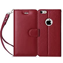 iPhone 6S Plus Case, iPhone 6 Plus Case, FYY [Top-Notch Series] Genuine Leather Wallet Case Protective Cover for Apple iPhone 6S Plus/ 6 Plus (5.5 inch) Wine Red