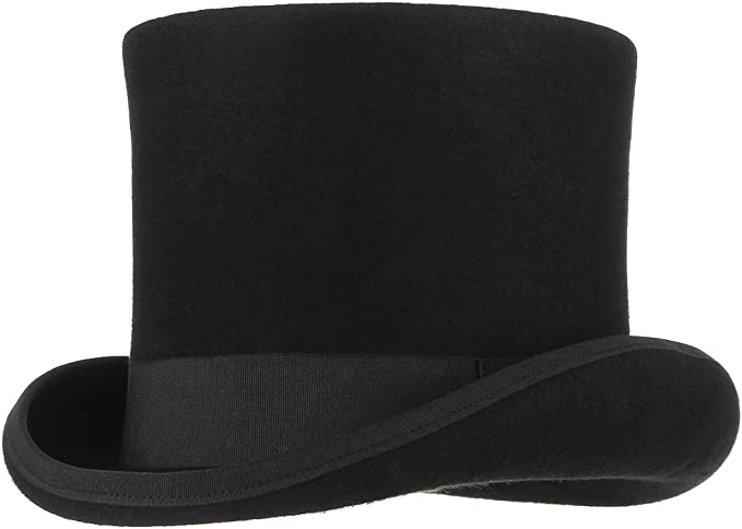 GEMVIE Vintage Style Felt Top Hat Costume Party Dress Up Hats Magician Ringmaster Costume Top Hat