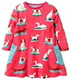 Fiream Girls Cotton Casual Longsleeve Cartoon Dresses (7T/7-8YRS, S0358)