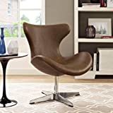 Modway Helm Vinyl Lounge Chair, Twin, Brown