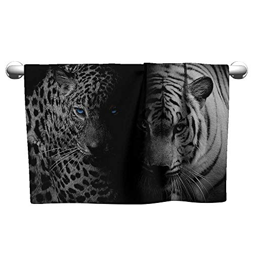 (xixiBO Towel W24 x L8 Black and White,Leopards with Blue Eyes Aggressive Powerful Wildcat Profile Print,Black White Blue Light Towel)